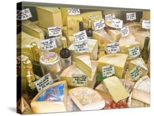 Cheese and Wine for Sale at Market, Florence, Tuscany, Italy by Rob Tilley