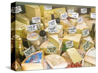 Cheese and Wine for Sale at Market, Florence, Tuscany, Italy