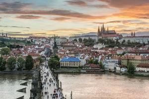 Czech Republic, Bohemia, Prague, Charles Bridge and Prague Castle by Rob Tilley