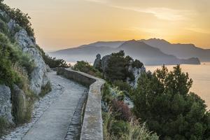 Italy, Isle of Capri, sunrise over the Sorrento Peninsula by Rob Tilley