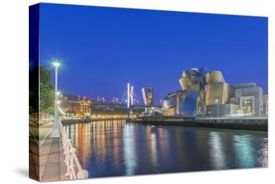 Spain, Bilbao, City at Twilight