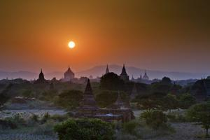 Sunset behind Temples, Bagan, Myanmar by Rob Whitworth