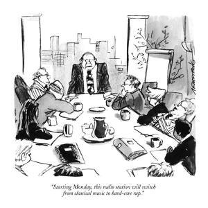 """""""Starting Monday, this radio station will switch from classical music to h?"""" - New Yorker Cartoon by Robb Armstrong"""