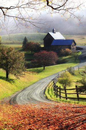 A Farm on a Winding Rural Road on a Foggy Autumn Morning