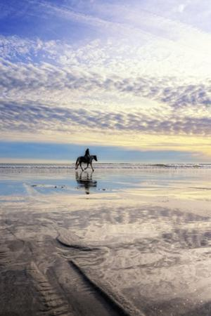 A Horseback Rider on Pine Point Beach at Sunset by Robbie George
