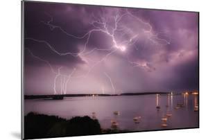 Lightning Strikes Off the Coast of Portland, Maine by Robbie George