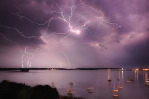 Lightning Strikes Off the Coast of Portland, Maine by Robbie George