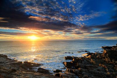 Sunrise over the Atlantic Ocean Off the Rocky Coast of Maine