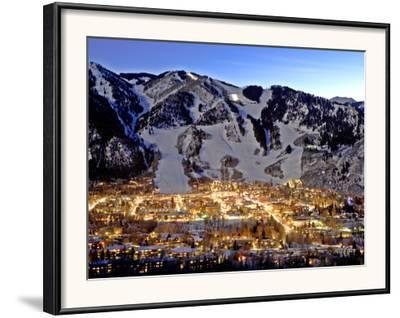 The Mountain Town of Aspen, Colorado, at Dusk in the Winter