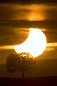 The Sun Being Eclipsed by the Moon During Sunset by Robbie George