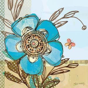 Fancy Flowers Aqua by Robbin Rawlings