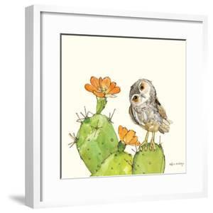 Prickly Pear and Elf Owl by Robbin Rawlings