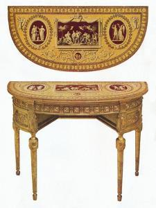 'One of a pair of Adam side-tables, the top painted in the manner of Pergolesi', 18th century by Robert Adam
