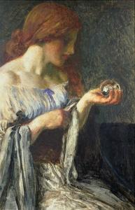 The Crystal Ball (Oil on Board) by Robert Anning Bell