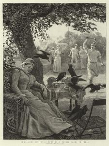 Unwelcome Visitors, Crows at a Tennis Party in India by Robert Barnes