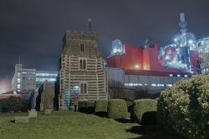 Church next to Factory at Night by Robert Brook