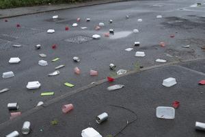 Litter on Road by Robert Brook