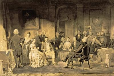Robert Burns (1759-96) at Lord Monboddo's (1714-99) Party, 1854 (Pen and Ink Wash on Paper)-James Edgar-Giclee Print