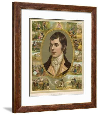 Robert Burns Scottish National Poet Portrait Surrounded by His Creations--Framed Giclee Print