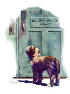 """Dog Waiting for Schoolboy,""September 10, 1938 by Robert C. Kauffmann"
