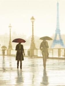 Paris Red Umbrella - Golden by Robert Canady