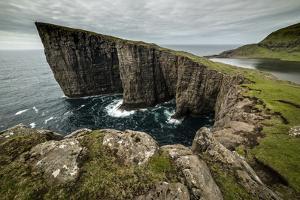 Traelanipa cliffs, Vagar Island, Faroe Islands, Denmark, Atlantic by Robert Canis