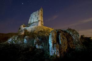 View of Rocks and Mirow Castle Ruins Illuminated at Night, Polish Jura, Poland, Europe by Robert Canis