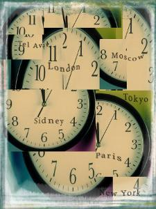 Clocks Montage with City Names by Robert Cattan
