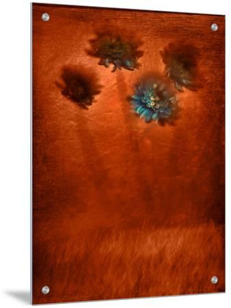 Four Blue Flowers in Copper Grass by Robert Cattan