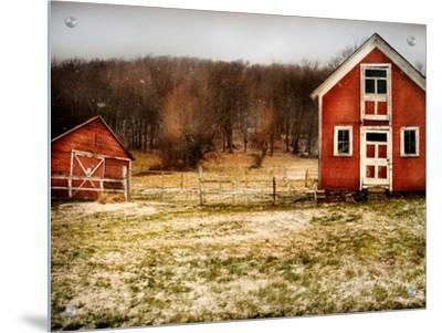 Red Farmhouse and Barn in Snowy Field by Robert Cattan
