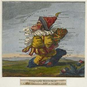 Geography Bewitched!, A Droll Caricature Map of Scotland, ca. 1795 by Robert Dighton