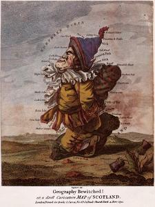 Satirical Map - Geography Bewitched Or, a Droll Caricature Map of Scotland by Robert Dighton