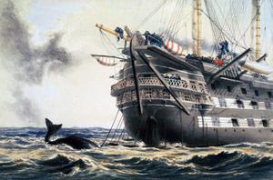 HMS 'Agamemnon' laying the original Atlantic telegraph cable, 1857 (1866) by Robert Dudley