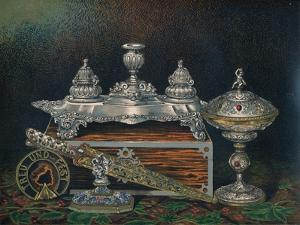 'Inkstand, Paper Weight, Hunting Knife or Dagger, Covered Tazza, Paper Weight', 1863 by Robert Dudley