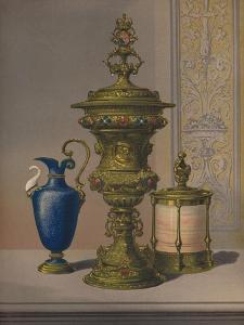 'Silver Gilt & Jewelled Vase, Porcelain Vase, Cigar Casket', 1863 by Robert Dudley