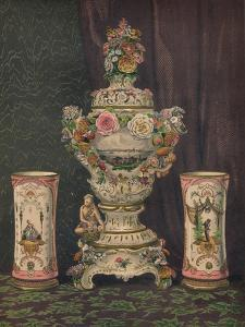'Vase of Dresden Porcelain and Pair of Porcelain Beakers', 1863 by Robert Dudley
