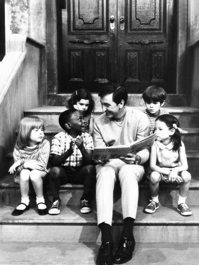 Robert Emmet Mcgrath, as Character Bob Johnson, Reading to Children on Seseme Street, 1970--Photo