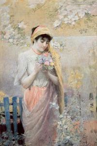 Study of a Girl with a Bouquet of Flowers in a Garden by Robert Fowler