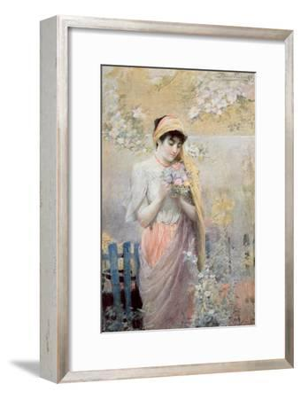 Study of a Girl with a Bouquet of Flowers in a Garden