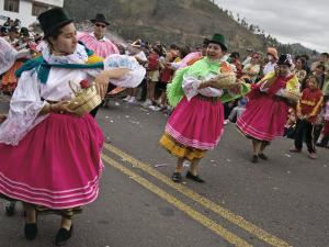 Dancers in Traditional Clothing at Carnival, Guaranda, Bolivar Province, Ecuador, South America by Robert Francis