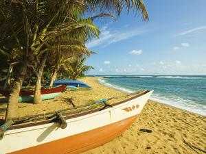 Fishing Boats at the East End of the South Coast Whale Watch Surf Beach at Mirissa, Near Matara, So by Robert Francis