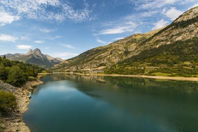 Lanuza lake and village and Pena Foratata peak in the scenic upper Tena Valley, Sallent de Gallego,