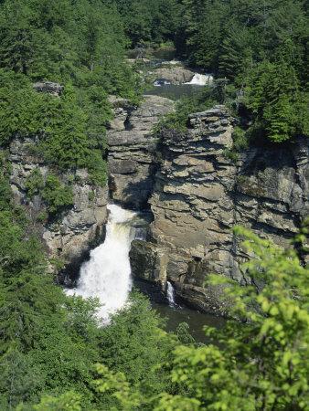Linville Falls, Linville River Near the Blue Ridge Parkway, Appalachian Mountains, North Carolina