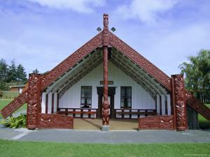 Maori Marae, or Meeting House, at Putiki, North Island, New Zealand by Robert Francis
