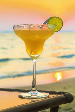 Margharita cocktail (tequila, triple sec and lime) at sunset, Otres Beach, Sihanoukville, Cambodia