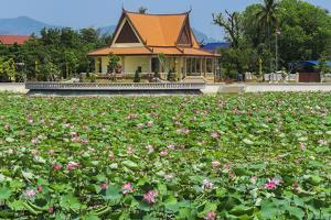 Ornamental lake covered with lily pads by temple pavilion, Cambodia by Robert Francis