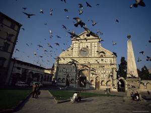Pigeons in Flight in the Piazza Santa Maria Novella, Florence, Tuscany, Italy by Robert Francis