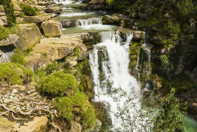 Steps of limestone strata make a waterfall on the Rio Arazas, upper Ordesa Valley, Ordesa National
