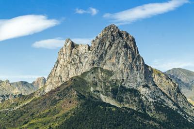 The 2341m limestone peak Pena Foratata, a great landmark in scenic upper Tena Valle, Sallent de Gal
