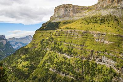 View west along the Ordesa Valley's north rim to distant Otal Peak, Ordesa National Park, Pyrenees,